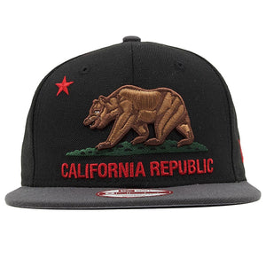 on the front of the california republic black on gray snapback hat is the california republic logo embroidered in brown, green and red