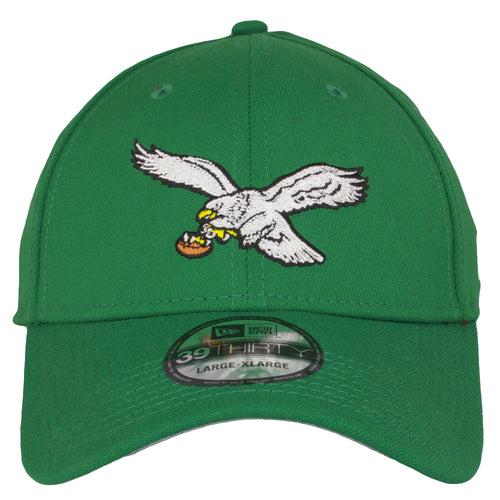 on the front of the Philadelphia Eagles vintage kelly green stretch fit cap is the eagles throwback logo embroidered in white, black, yellow, and brown