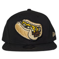 on the front of the Philadelphia Cheesesteak wit snapback hat is a cheesesteak with onions embroidere din tan, yellow, and brown