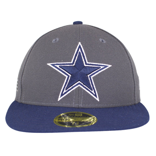 in the front of the flat brim structured hat made in US is the heavy embroidery is the star of the Dallas Cowboys logo with outlines in navy blue and white. The brim is in contrast with navy blue color matching the football team logo.