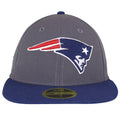 on the front of the new england patriots made in usa fitted cap is the new england patriots logo embroidered in navy blue, red, and white