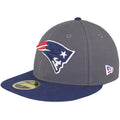 on the left side of the new england patriots made in usa fitted cap is the new era logo embroidered in red, white, and blue