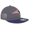 on the right side of the new england patriots made in usa fitted cap is the american flag embroidered in gray
