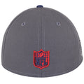 on the back of the new england patriots made in usa fitted cap is the nfl logo embroidered in red and navy blue