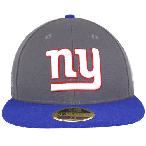 the front of this New York Sideline Made In USA fitted cap is the bright team logo in heavy duty embroidery, in a large sizing, just enough to see from afar. Contrasting royal blue bill against the dull gray of this hat stands out with the contrasting white logo.