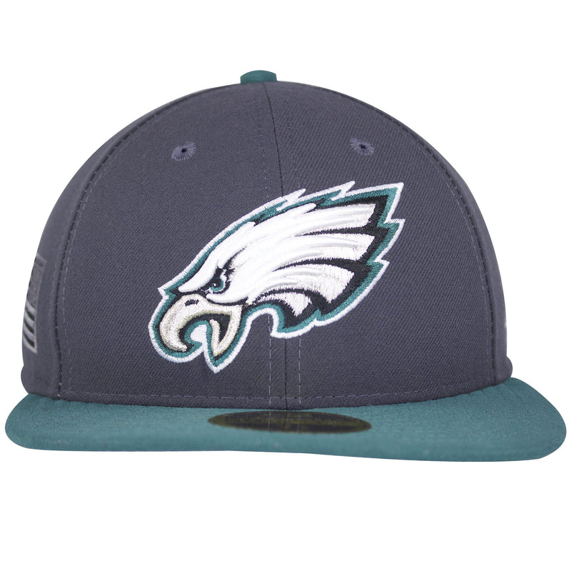 the phialdelphia eagles fitted cap has a gray structured crown, a teal flat brim, a teal button and a white, black, silver, and teal philadelphia eagles embroidered on the front