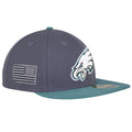 on the right side of the philadelphia eagles low crown made in usa fitted cap the usa flag is embroidered in gray