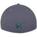 on the back of the philadelphia eagles made in usa low crown fitted cap there is a nfl logo embroidered in teal and black