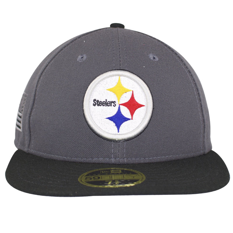 the pittsburgh steelers made in usa sidelined fitted cap has a gray structured crown and a flat black brim