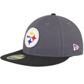 on the left side of the made in usa pittsburgh steelers low crown fitted cap is a new era logo embroidered in blue, red, and white