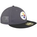 on the right side of the pittsburgh steelers made in usa fitted cap is a gray and black usa logo