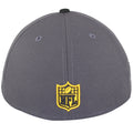 on the back of the low crown pittsburgh steelers made in usa fitted cap is an nfl logo embroidered in yellow and black