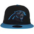 Carolina Panther logo is heavily embroidered on the front of a black snapback cap. The bill of this Carolina Panthers Made in USA snapback is light blue, same colors as the Panther's team color.