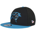 White New Era flag logo is embroidered on the left side of this Carolina Panthers Made in America Sideline Snapback. The inside of this New Era Logo is filled in blue and red colors.