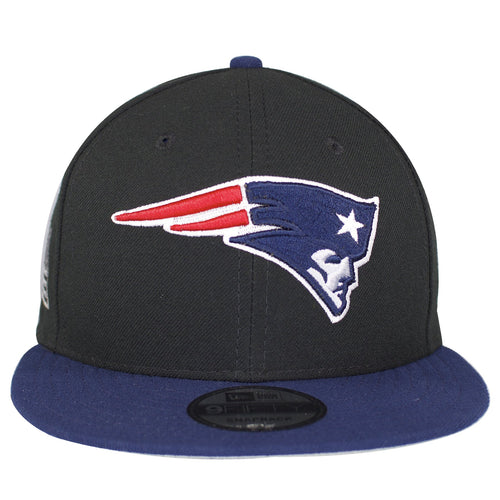 on the front of the new england patriots made in usa snapback hat is the new england patriots logo embroidered in navy blue, red, and white