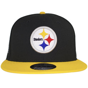 on the front of the pittsburgh steelers made in usa fitted cap is a steelers logo embroidered