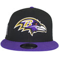 on the front of the baltimore ravens made in usa snapback hat is the baltimore ravens logo embroidered in purple, tan, red, black, and white