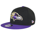 on the left side of the baltimore ravens made in usa snapback hat is the new era logo embroidered in red, white, and blue