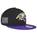 on the right side of the baltimore ravens made in usa snapback hat is the gray usa flag logo embroidered