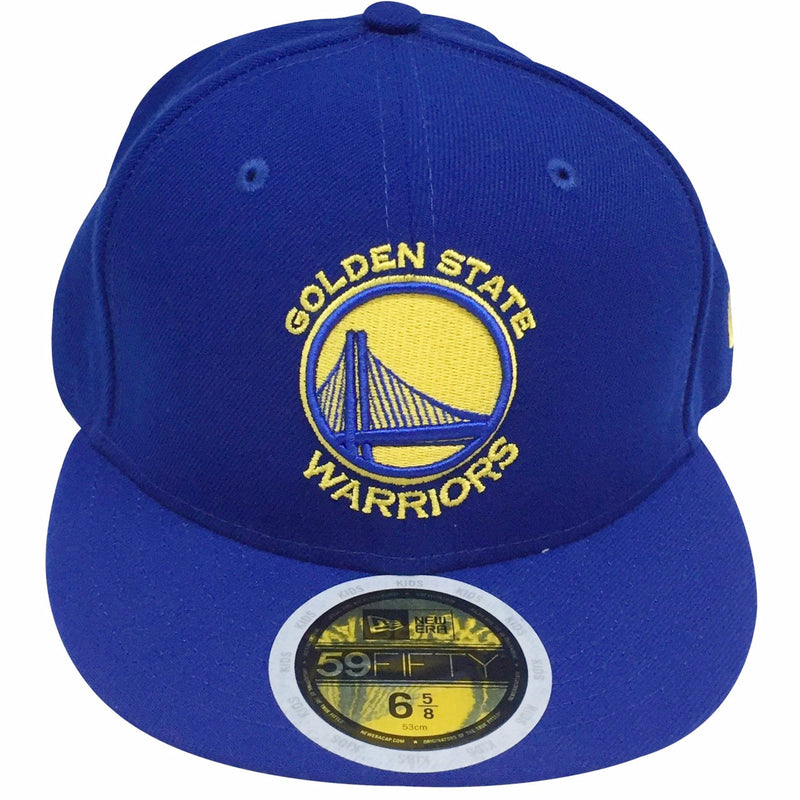 the golden state warriors kids sized fitted cap is solid royal blue with a golden state warriors logo embroidered on the front in yellow and blue