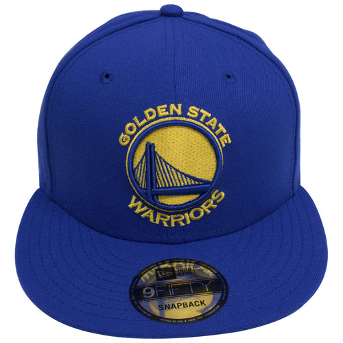 on the front of the Golden State Warriors classic New era snapback hat is the Golden State Warriors embroidered in yellow and blue on a blue snapback cap