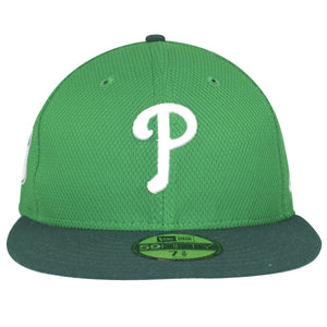 on the front of the Philadelphia Phillies Irish Green St. Patrick's day fitted cap there is a white Philadelphia Phillies logo