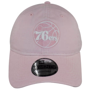 The front also shows that the brim of this Pink Philadelphia 76ers hat is slightly bent.