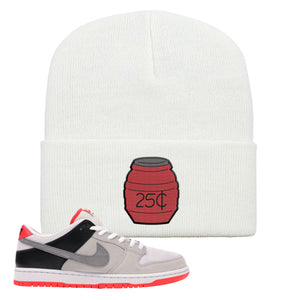 Nike SB Dunk Low Infrared Orange Label Quarter Water White Beanie To Match Sneakers