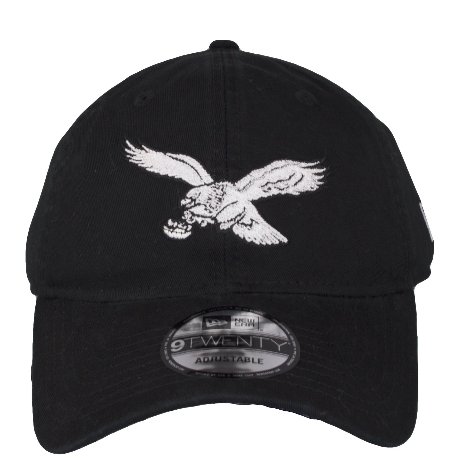 d7bba41bf29 on the front of the philadelphia eagles vintage dad hat is the throwback  eagles logo emboridered