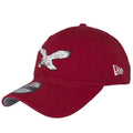 on the left side of the philadelphia eagles throwback cooperstown maroon dad hat is a new era logo embroidered in white