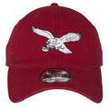 on the front of the philadelphia eagles retro logo cooperstown maroon dad hat is the philadelphia eagles throwback logo embroidered in white and black