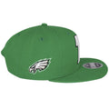 The right side of this Philadelphia Eagles Green Snapback hat shows the current logo of the Eagles embroidered in full colors.
