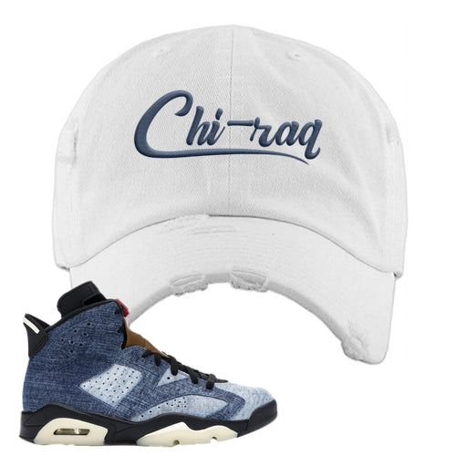 Air Jordan 6 Washed Denim Carp Pattern White Sneaker Hook Up Distressed Dad Hat