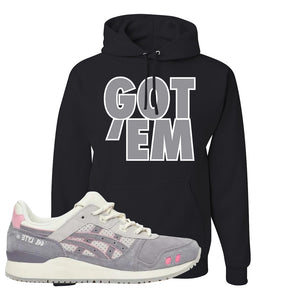 END x Asics Gel-Lyte III Grey And Pink Hoodie | Got Em, Black