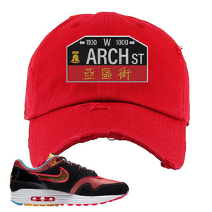 Air Max 1 NYC Chinatown Arch Street Philadelphia Red Distressed Dad Hat To Match Sneakers