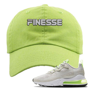 Air Max 270 React Ghost Green Sneaker Lime Green Distressed Dad Hat | Hat to match Nike Air Max 270 React Ghost Green Shoes | Finesse