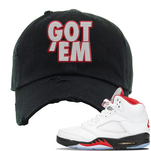 Air Jordan 5 OG Fire Red Distressed Dad Hat | Black, Got Em