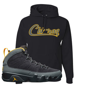 Air Jordan 9 Charcoal University Gold Hoodie | Chiraq, Black