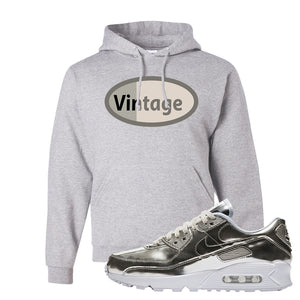 Air Max 90 WMNS 'Medal Pack' Chrome Sneaker Ash Pullover Hoodie | Hoodie to match Nike Air Max 90 WMNS 'Medal Pack' Chrome Shoes | Vintage Oval