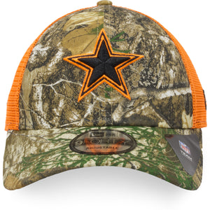 Dallas Cowboys Realtree Camouflage / Safety Orange Mesh-Back 9Forty Trucker Hat