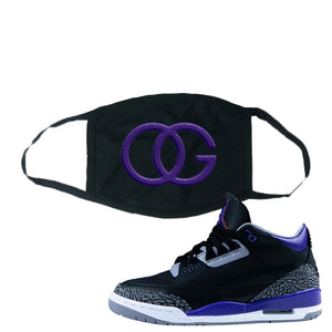 Air Jordan 3 Court Purple Face Mask | OG, Black