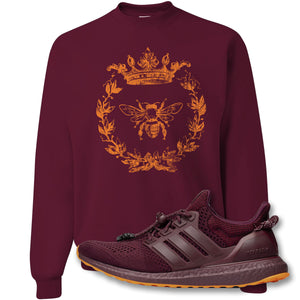Royal Bee Leaf Maroon Crewneck Sweatshirt to match Ivy Park X Adidas Ultra Boost Sneaker