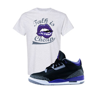 Air Jordan 3 Court Purple T Shirt | Talk Is Cheap, Ash