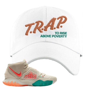 Kyrie 6 N7 Dad Hat | White, Trap To Rise Above Poverty