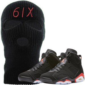 The Jordan 6 Infrared Ski Mask is custom designed to perfectly match the retro Jordan 6 Infrared sneakers from Nike.