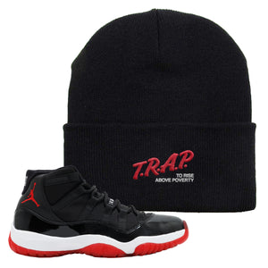 Jordan 11 Bred Beanie | Black, Trap To Rise Above Poverty