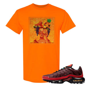 printed on the front of the air max plus sunburst sneaker matching tee shirt is the lady fruit logo