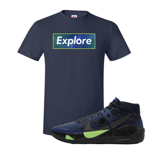 KD 13 Planet of Hoops T Shirt | Explore Box Logo, Navy