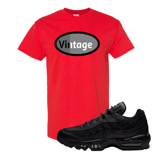 Air Max 95 Essential Black/Dark Grey/Black Sneaker Red T Shirt | Tees to match Nike Air Max 95 Essential Black/Dark Grey/Black Shoes | Vintage Oval