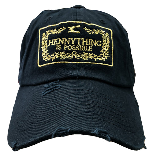Embroidered on the front of the Hennything Is Possible black distressed dad  hat 2eb3b76e0296